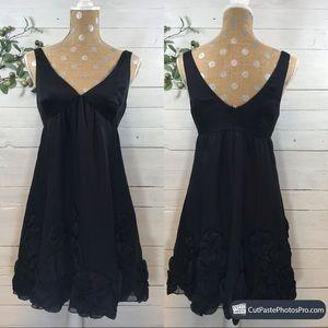 Rebecca Taylor Black Silk w/ Appliqué Floral Dress